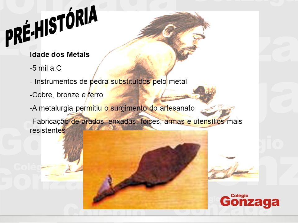 PRÉ-HISTÓRIA Idade dos Metais 5 mil a.C