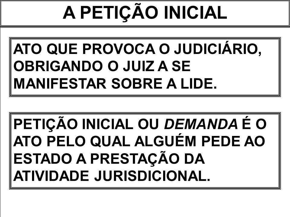 A PETIÇÃO INICIAL ATO QUE PROVOCA O JUDICIÁRIO, OBRIGANDO O JUIZ A SE MANIFESTAR SOBRE A LIDE.