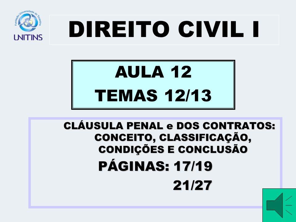 DIREITO CIVIL I AULA 12 TEMAS 12/13 PÁGINAS: 17/19 21/27