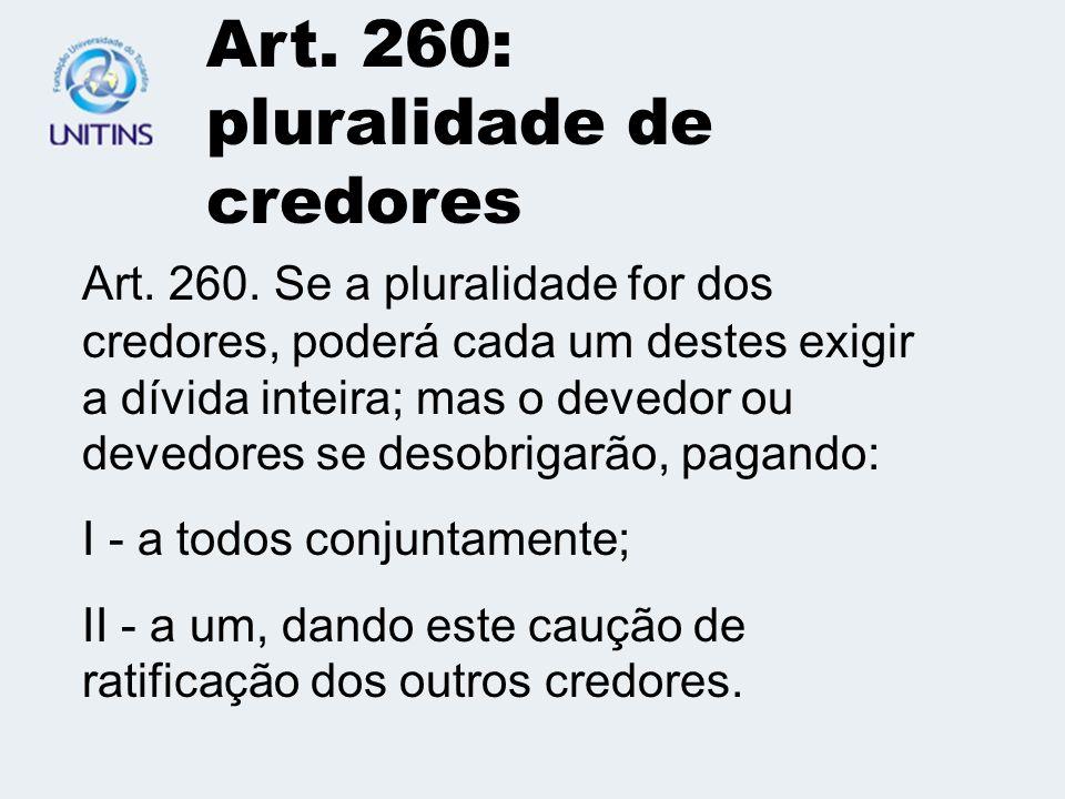 Art. 260: pluralidade de credores