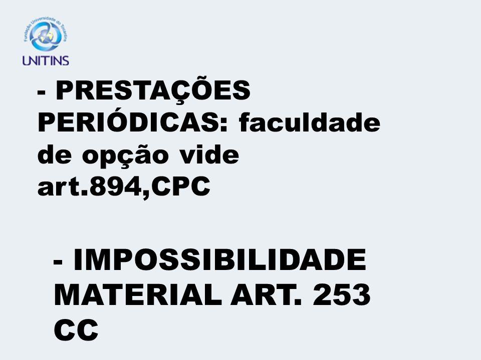 - IMPOSSIBILIDADE MATERIAL ART. 253 CC