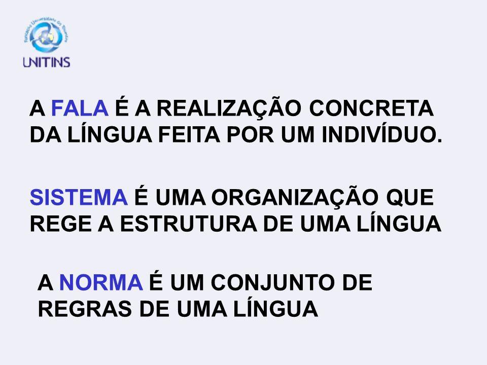 A FALA É A REALIZAÇÃO CONCRETA DA LÍNGUA FEITA POR UM INDIVÍDUO.