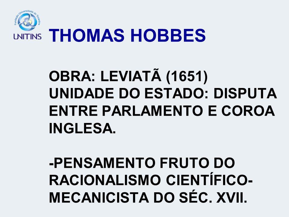 THOMAS HOBBES OBRA: LEVIATÃ (1651) UNIDADE DO ESTADO: DISPUTA ENTRE PARLAMENTO E COROA INGLESA.