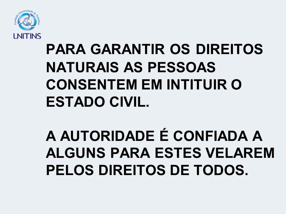 PARA GARANTIR OS DIREITOS NATURAIS AS PESSOAS CONSENTEM EM INTITUIR O ESTADO CIVIL.