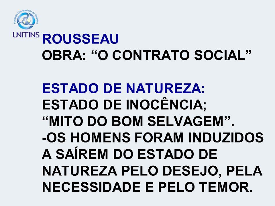 ROUSSEAU OBRA: O CONTRATO SOCIAL ESTADO DE NATUREZA: ESTADO DE INOCÊNCIA; MITO DO BOM SELVAGEM .
