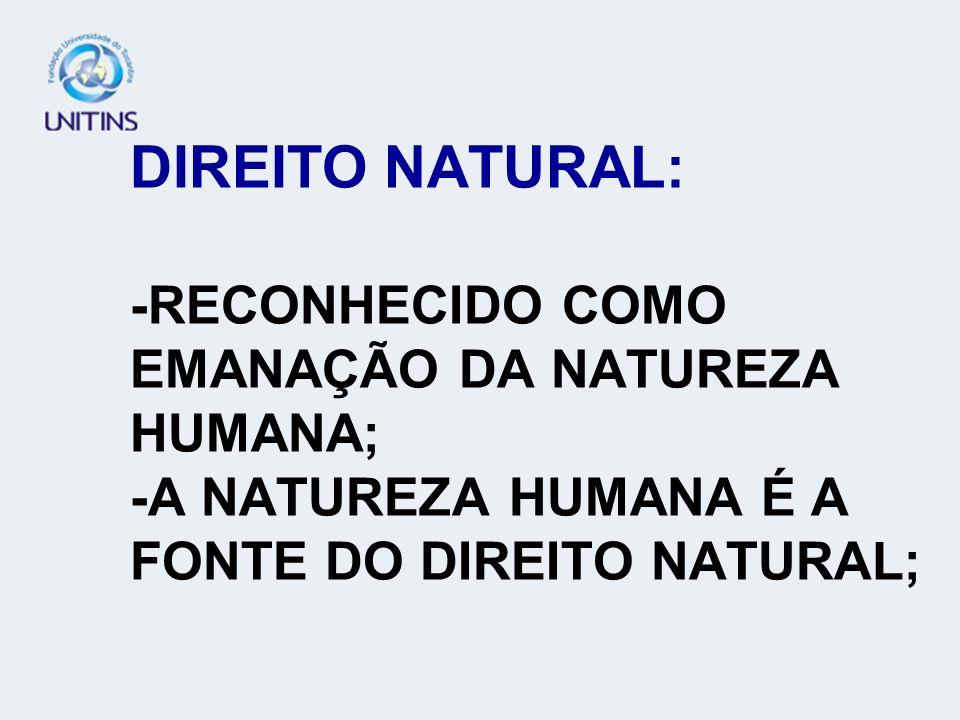 DIREITO NATURAL: -RECONHECIDO COMO EMANAÇÃO DA NATUREZA HUMANA; -A NATUREZA HUMANA É A FONTE DO DIREITO NATURAL;