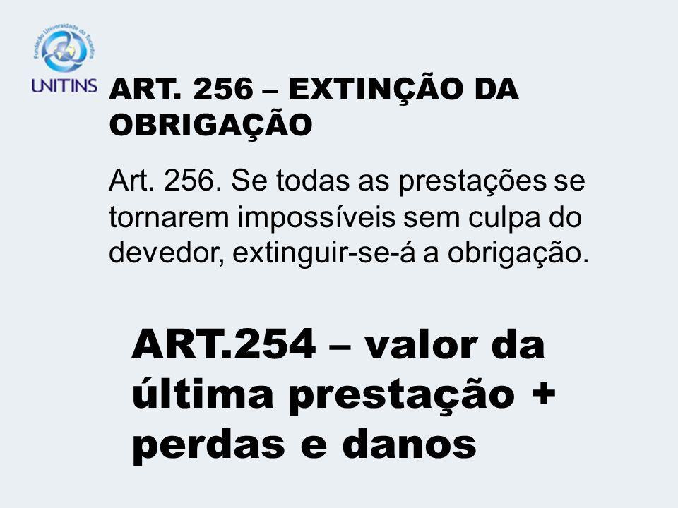 ART.254 – valor da última prestação + perdas e danos