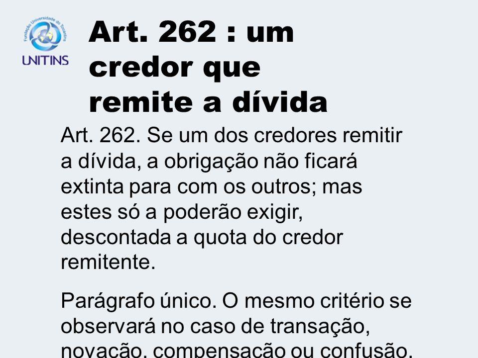 Art. 262 : um credor que remite a dívida