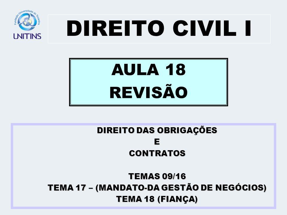 DIREITO CIVIL I AULA 18 REVISÃO DIREITO DAS OBRIGAÇÕES E CONTRATOS