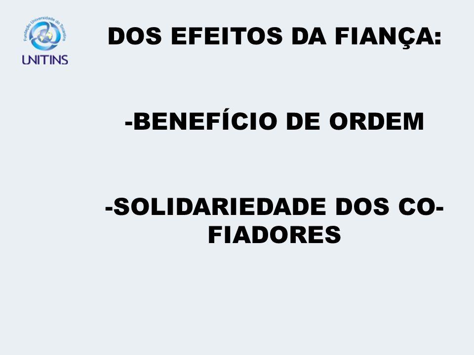 SOLIDARIEDADE DOS CO-FIADORES