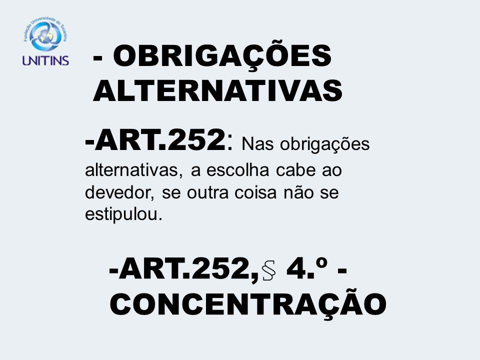 - OBRIGAÇÕES ALTERNATIVAS