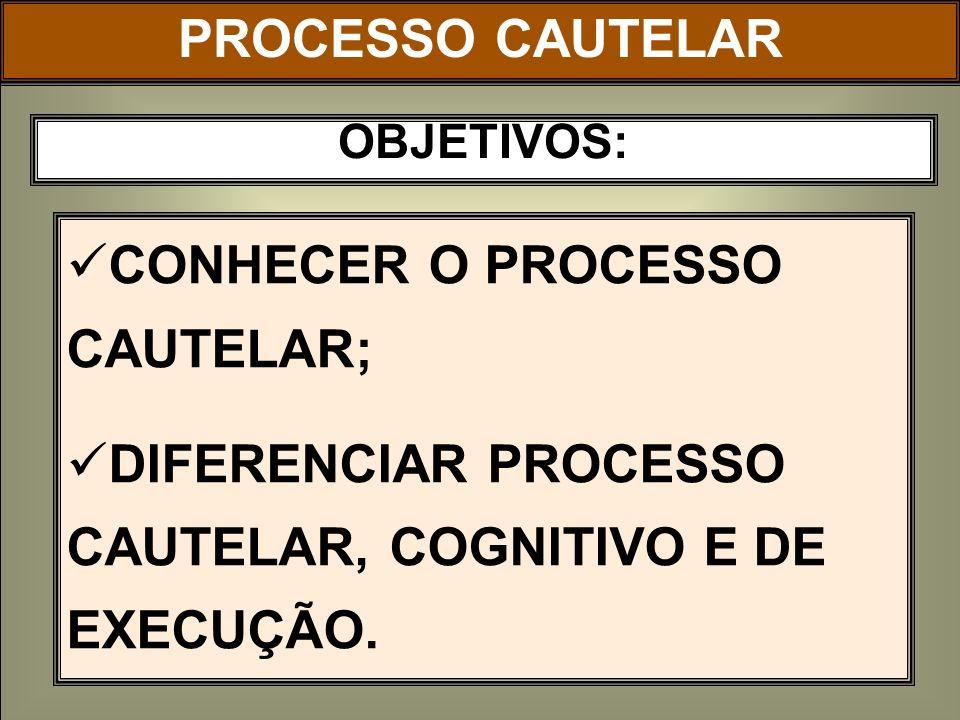 CONHECER O PROCESSO CAUTELAR;