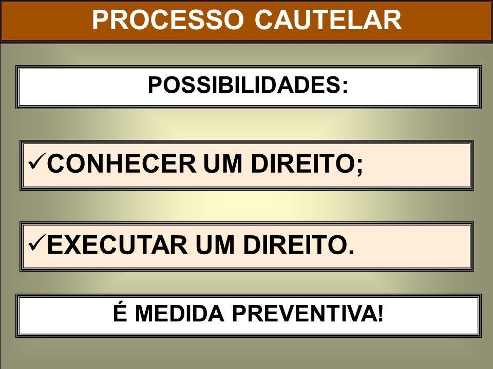 PROCESSO CAUTELAR CONHECER UM DIREITO; EXECUTAR UM DIREITO.