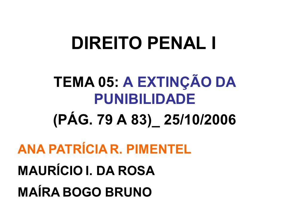 TEMA 05: A EXTINÇÃO DA PUNIBILIDADE (PÁG. 79 A 83)_ 25/10/2006