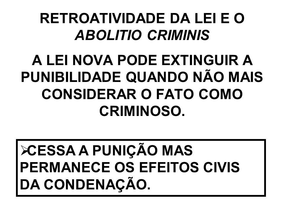RETROATIVIDADE DA LEI E O ABOLITIO CRIMINIS