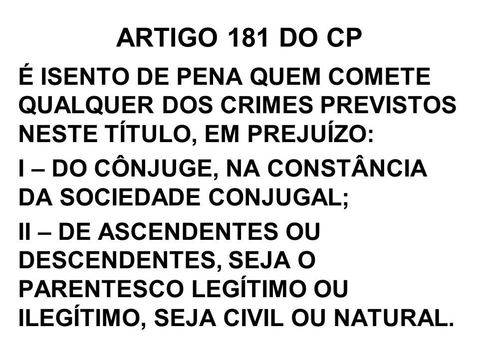 ARTIGO 181 DO CP É ISENTO DE PENA QUEM COMETE QUALQUER DOS CRIMES PREVISTOS NESTE TÍTULO, EM PREJUÍZO: