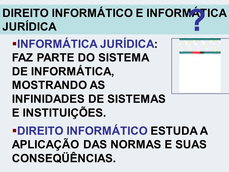DIREITO INFORMÁTICO E INFORMÁTICA JURÍDICA