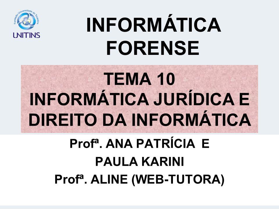 TEMA 10 INFORMÁTICA JURÍDICA E DIREITO DA INFORMÁTICA