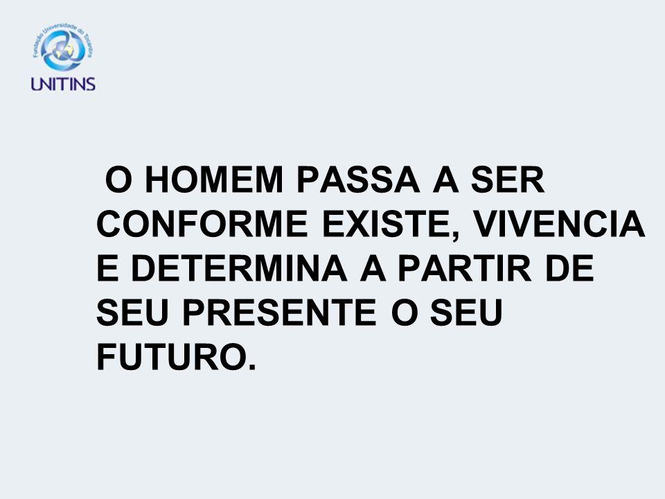 O HOMEM PASSA A SER CONFORME EXISTE, VIVENCIA E DETERMINA A PARTIR DE SEU PRESENTE O SEU FUTURO.