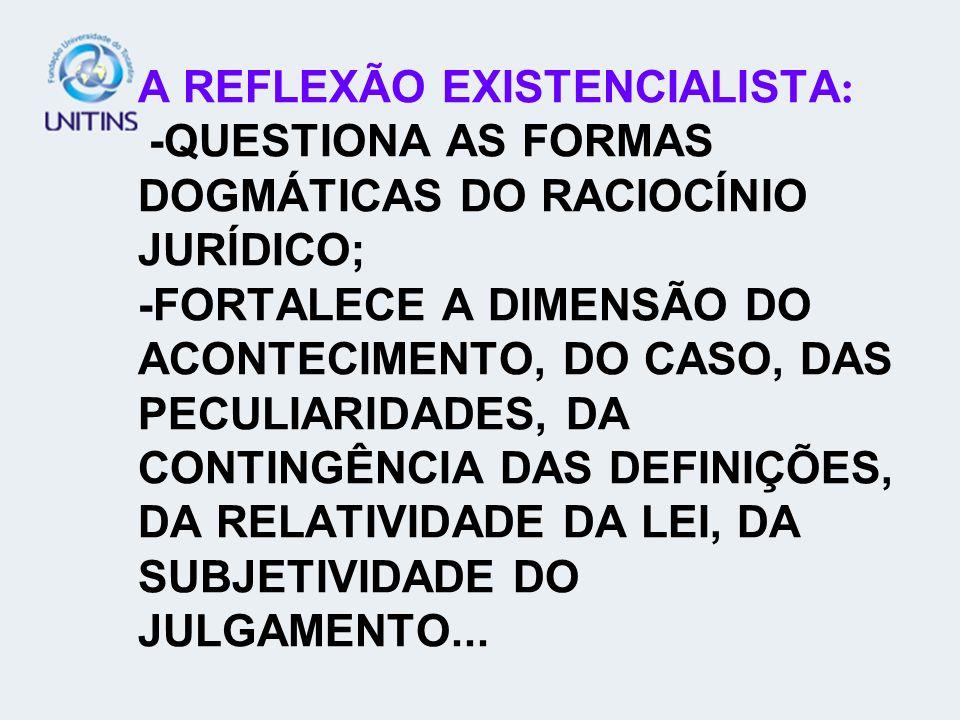 A REFLEXÃO EXISTENCIALISTA: -QUESTIONA AS FORMAS DOGMÁTICAS DO RACIOCÍNIO JURÍDICO; -FORTALECE A DIMENSÃO DO ACONTECIMENTO, DO CASO, DAS PECULIARIDADES, DA CONTINGÊNCIA DAS DEFINIÇÕES, DA RELATIVIDADE DA LEI, DA SUBJETIVIDADE DO JULGAMENTO...