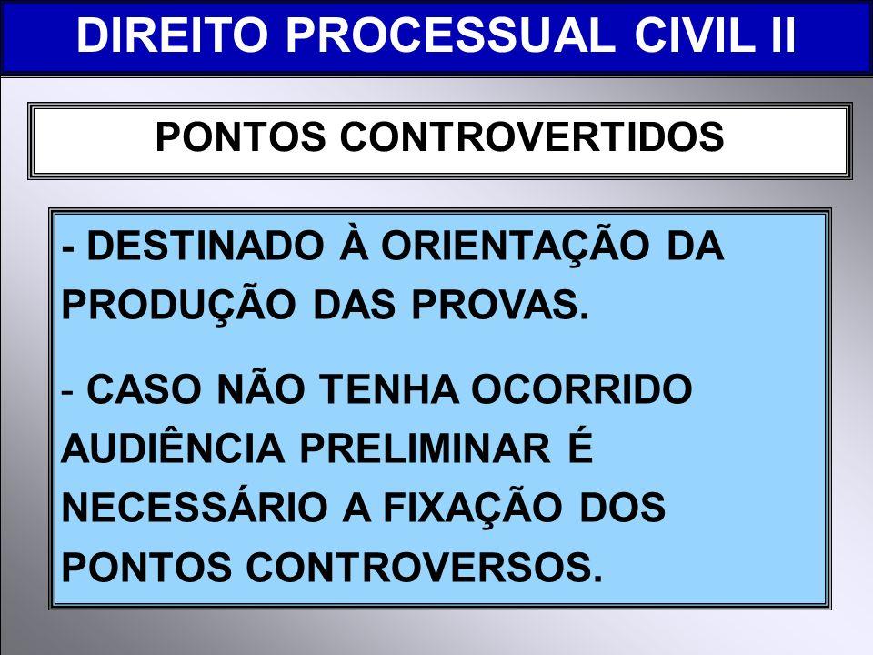 DIREITO PROCESSUAL CIVIL II PONTOS CONTROVERTIDOS