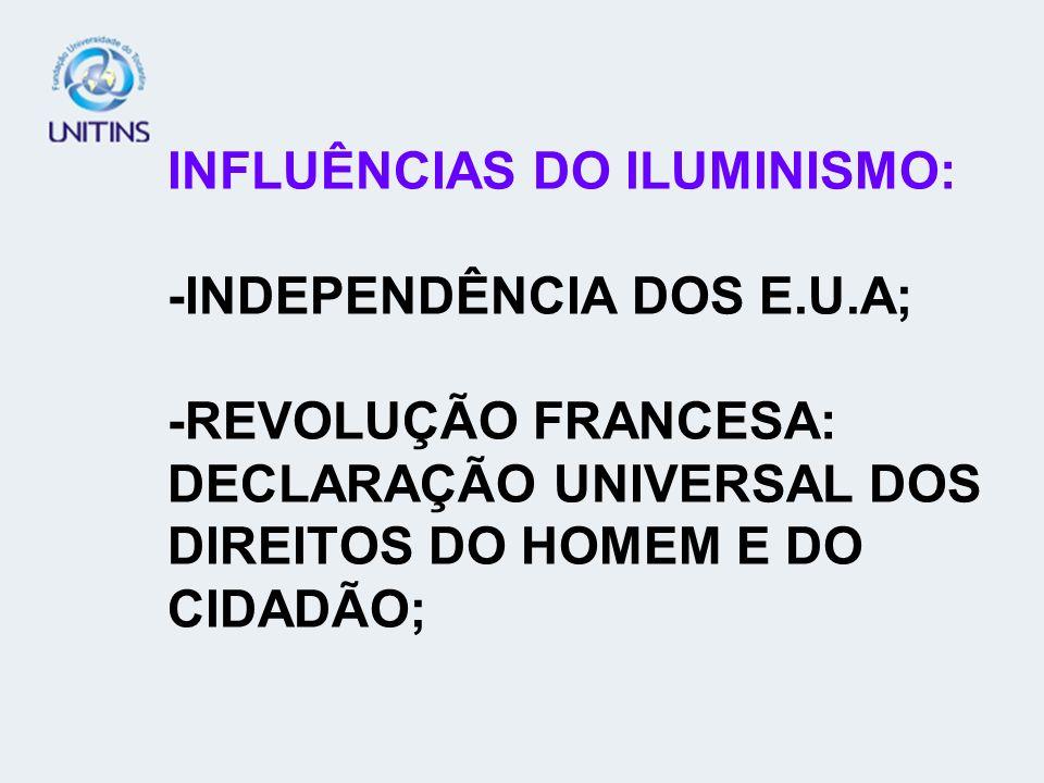 INFLUÊNCIAS DO ILUMINISMO: -INDEPENDÊNCIA DOS E. U