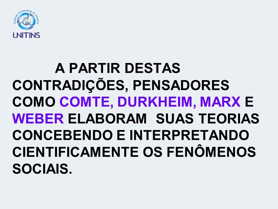 A PARTIR DESTAS CONTRADIÇÕES, PENSADORES COMO COMTE, DURKHEIM, MARX E WEBER ELABORAM SUAS TEORIAS CONCEBENDO E INTERPRETANDO CIENTIFICAMENTE OS FENÔMENOS SOCIAIS.