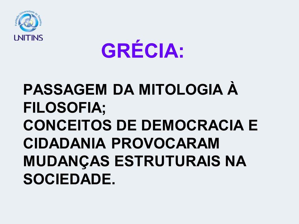GRÉCIA: PASSAGEM DA MITOLOGIA À FILOSOFIA; CONCEITOS DE DEMOCRACIA E CIDADANIA PROVOCARAM MUDANÇAS ESTRUTURAIS NA SOCIEDADE.
