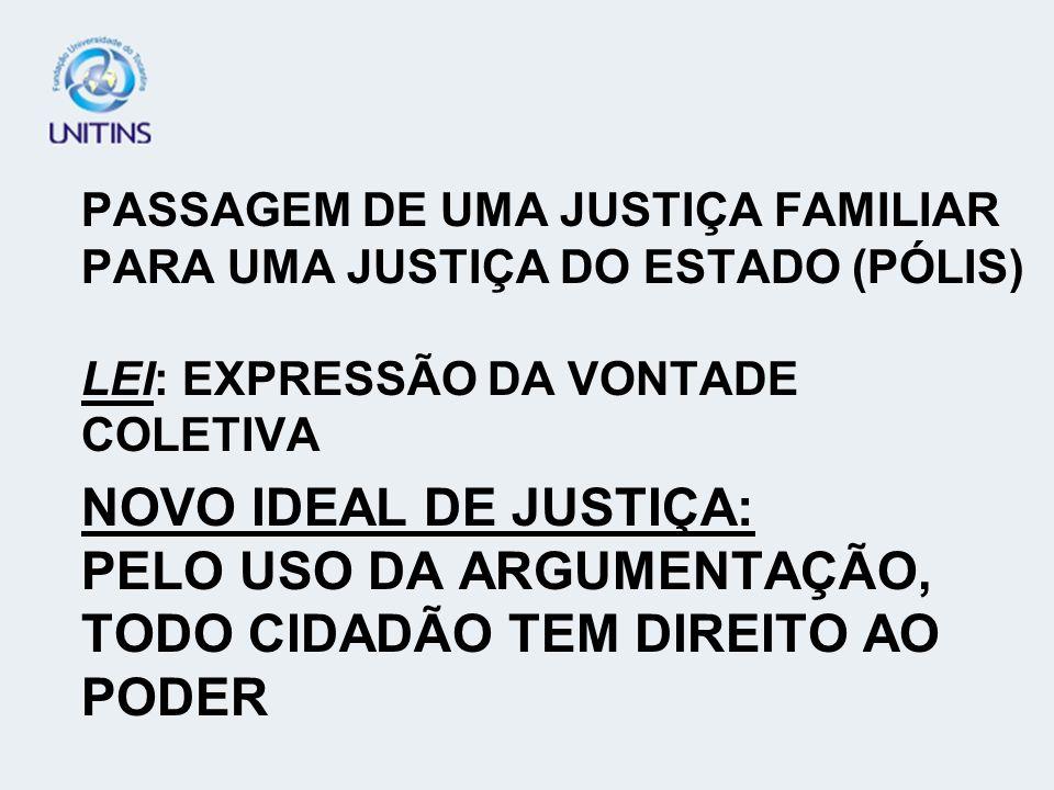 PASSAGEM DE UMA JUSTIÇA FAMILIAR PARA UMA JUSTIÇA DO ESTADO (PÓLIS) LEI: EXPRESSÃO DA VONTADE COLETIVA