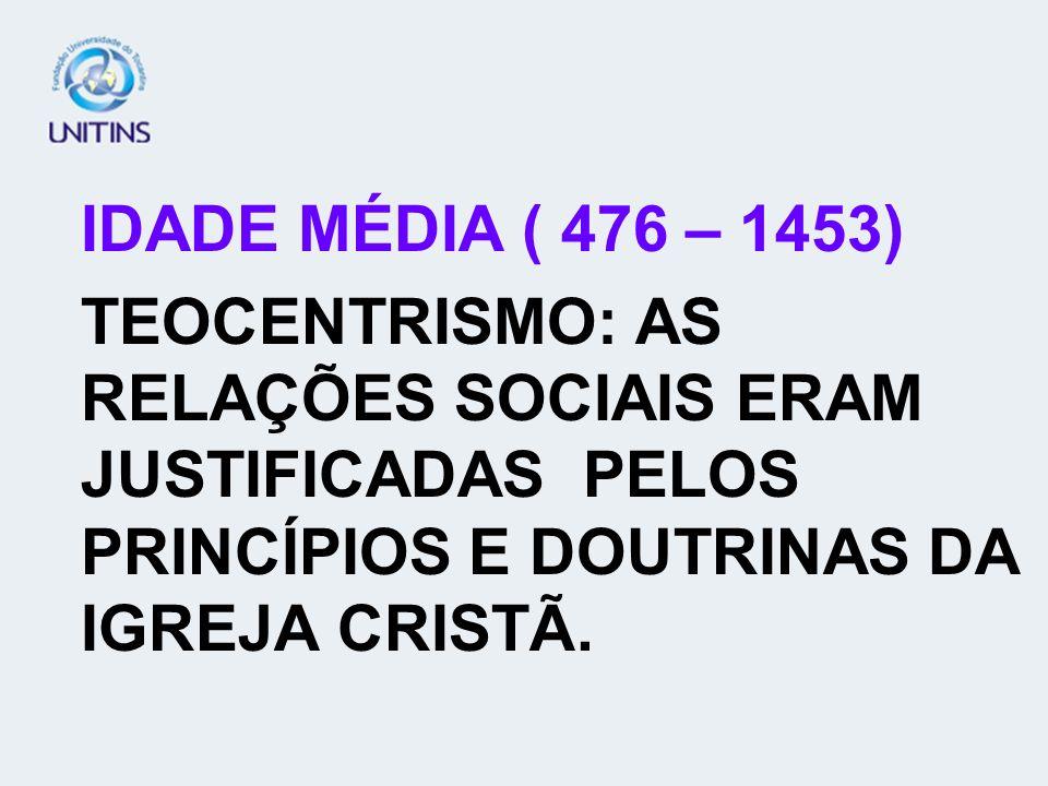 IDADE MÉDIA ( 476 – 1453)TEOCENTRISMO: AS RELAÇÕES SOCIAIS ERAM JUSTIFICADAS PELOS PRINCÍPIOS E DOUTRINAS DA IGREJA CRISTÃ.