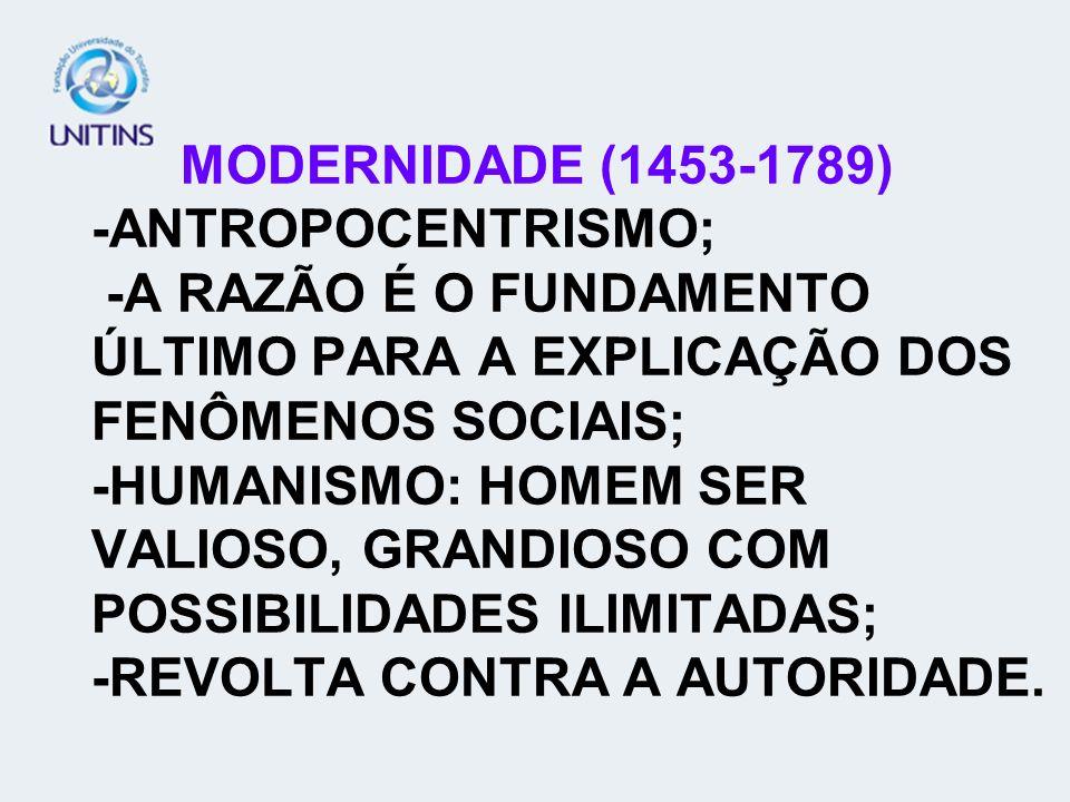 MODERNIDADE (1453-1789) -ANTROPOCENTRISMO; -A RAZÃO É O FUNDAMENTO ÚLTIMO PARA A EXPLICAÇÃO DOS FENÔMENOS SOCIAIS; -HUMANISMO: HOMEM SER VALIOSO, GRANDIOSO COM POSSIBILIDADES ILIMITADAS; -REVOLTA CONTRA A AUTORIDADE.