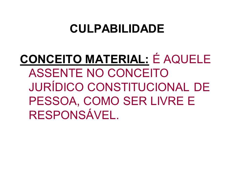 CULPABILIDADE CONCEITO MATERIAL: É AQUELE ASSENTE NO CONCEITO JURÍDICO CONSTITUCIONAL DE PESSOA, COMO SER LIVRE E RESPONSÁVEL.