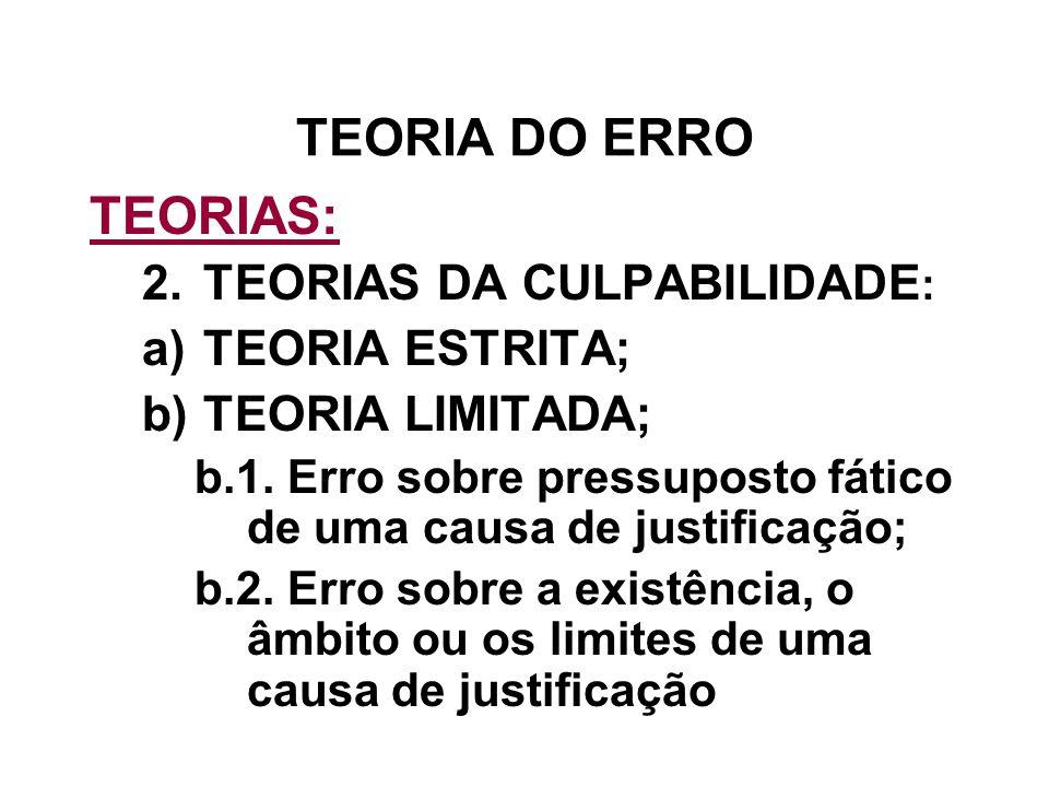 TEORIA DO ERRO TEORIAS: TEORIAS DA CULPABILIDADE: TEORIA ESTRITA;