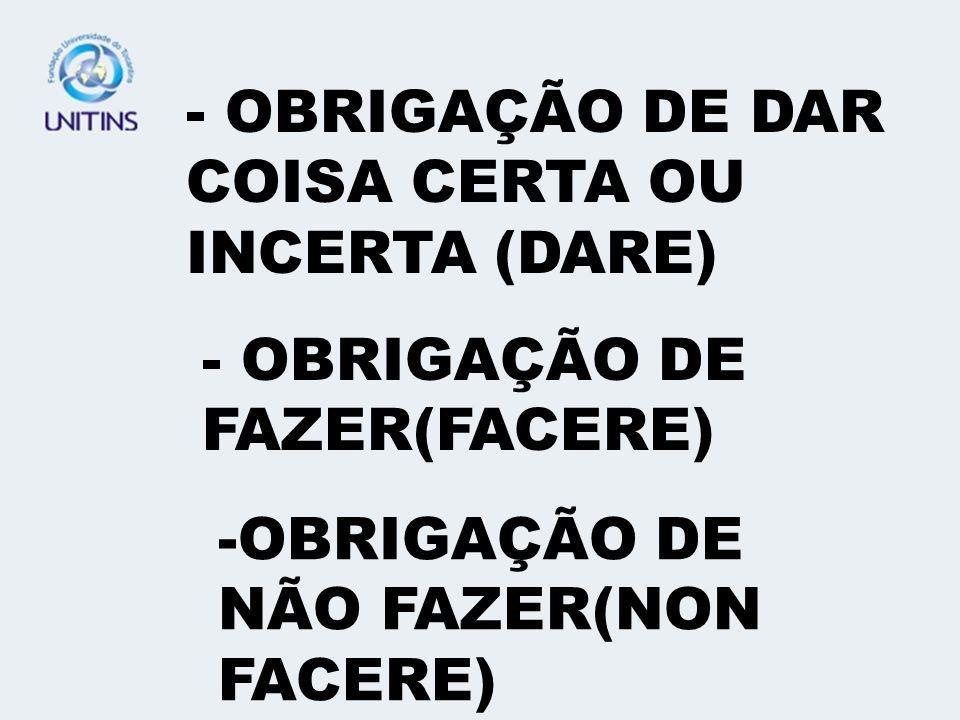 - OBRIGAÇÃO DE DAR COISA CERTA OU INCERTA (DARE)