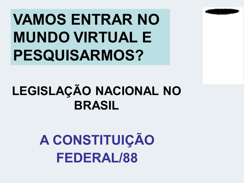 LEGISLAÇÃO NACIONAL NO BRASIL A CONSTITUIÇÃO FEDERAL/88