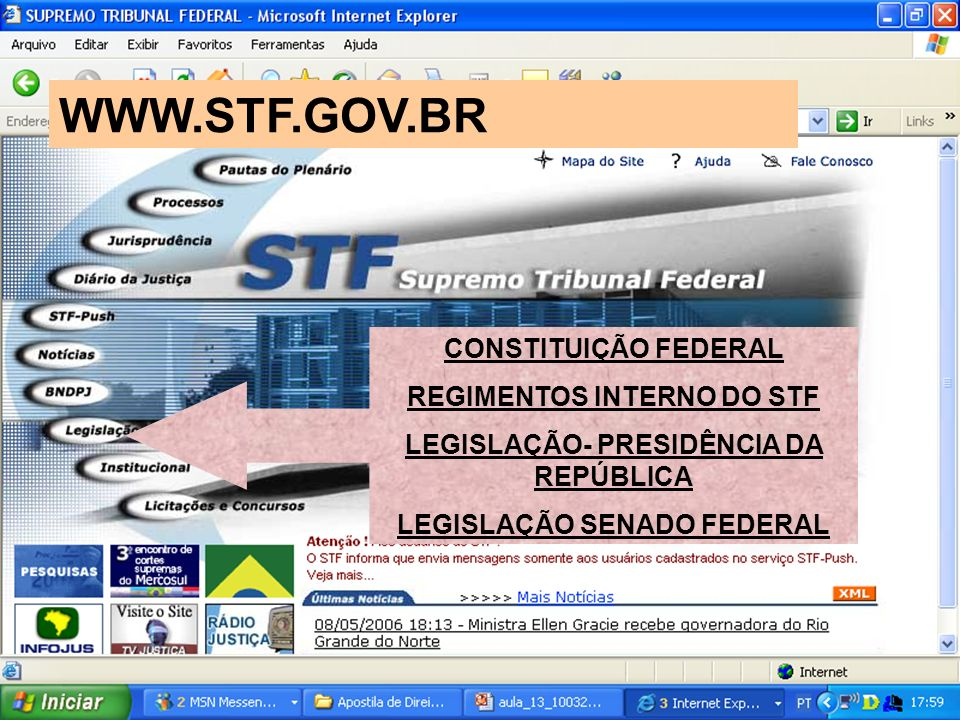 WWW.STF.GOV.BR CONSTITUIÇÃO FEDERAL REGIMENTOS INTERNO DO STF