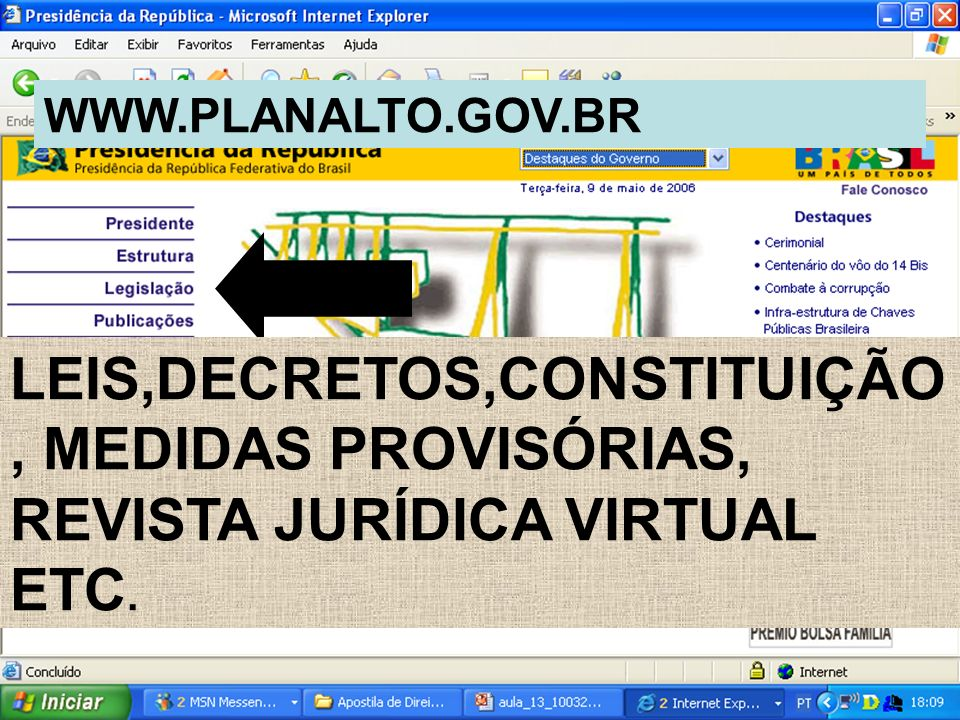 WWW.PLANALTO.GOV.BR LEIS,DECRETOS,CONSTITUIÇÃO, MEDIDAS PROVISÓRIAS, REVISTA JURÍDICA VIRTUAL ETC.
