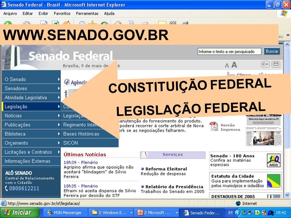 WWW.SENADO.GOV.BR CONSTITUIÇÃO FEDERAL LEGISLAÇÃO FEDERAL