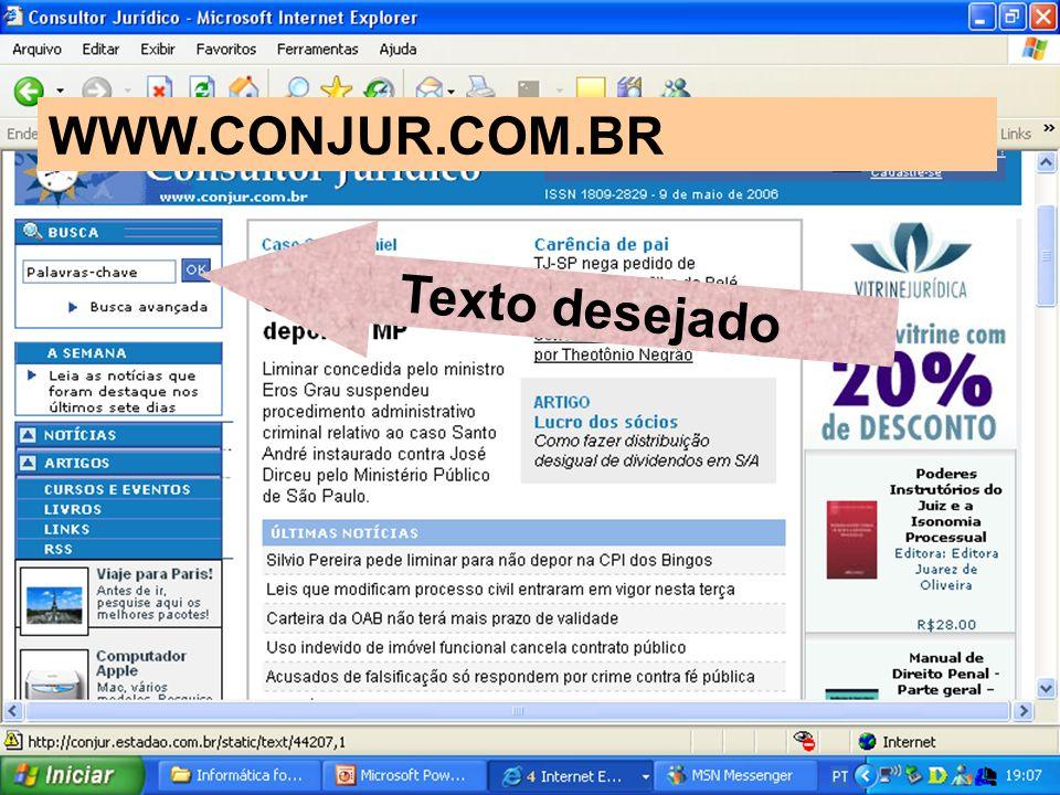 WWW.CONJUR.COM.BR Texto desejado
