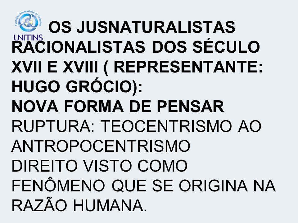 OS JUSNATURALISTAS RACIONALISTAS DOS SÉCULO XVII E XVIII ( REPRESENTANTE: HUGO GRÓCIO): NOVA FORMA DE PENSAR RUPTURA: TEOCENTRISMO AO ANTROPOCENTRISMO DIREITO VISTO COMO FENÔMENO QUE SE ORIGINA NA RAZÃO HUMANA.