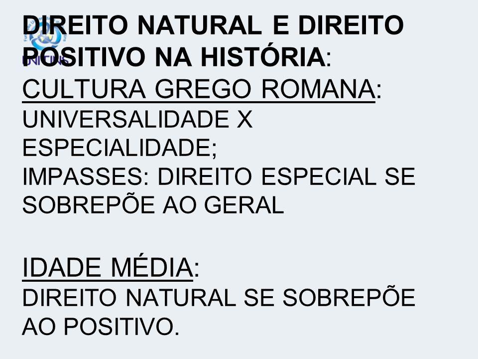 DIREITO NATURAL E DIREITO POSITIVO NA HISTÓRIA: CULTURA GREGO ROMANA: UNIVERSALIDADE X ESPECIALIDADE; IMPASSES: DIREITO ESPECIAL SE SOBREPÕE AO GERAL IDADE MÉDIA: DIREITO NATURAL SE SOBREPÕE AO POSITIVO.