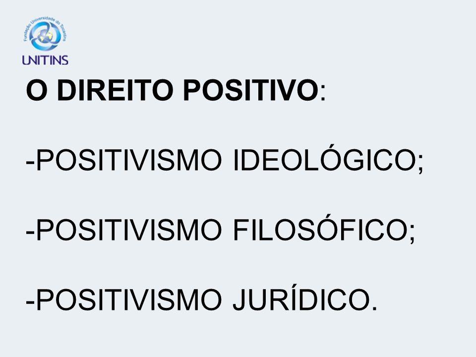 O DIREITO POSITIVO: -POSITIVISMO IDEOLÓGICO; -POSITIVISMO FILOSÓFICO; -POSITIVISMO JURÍDICO.