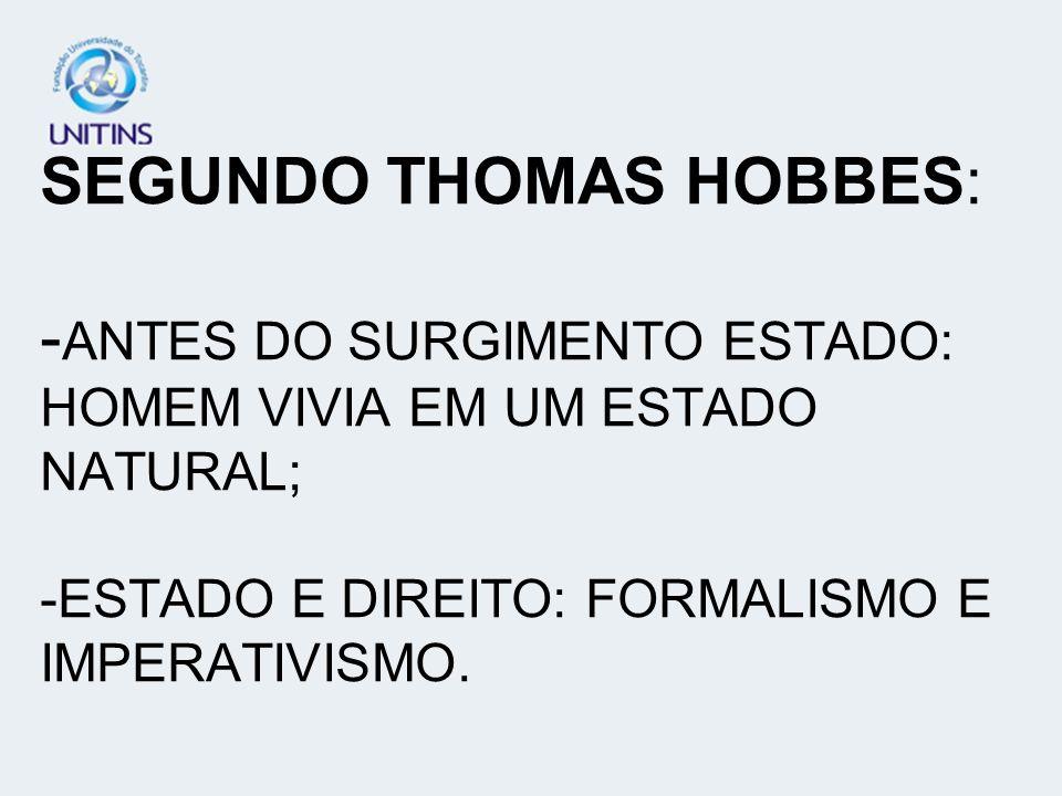 SEGUNDO THOMAS HOBBES: -ANTES DO SURGIMENTO ESTADO: HOMEM VIVIA EM UM ESTADO NATURAL; -ESTADO E DIREITO: FORMALISMO E IMPERATIVISMO.