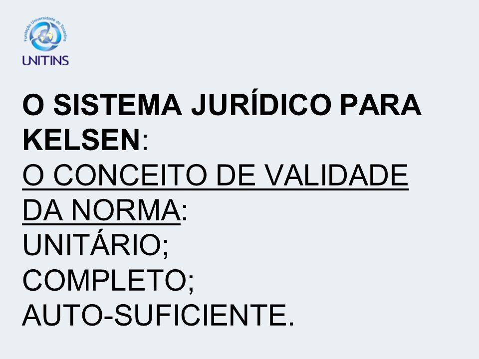 O SISTEMA JURÍDICO PARA KELSEN: O CONCEITO DE VALIDADE DA NORMA: UNITÁRIO; COMPLETO; AUTO-SUFICIENTE.