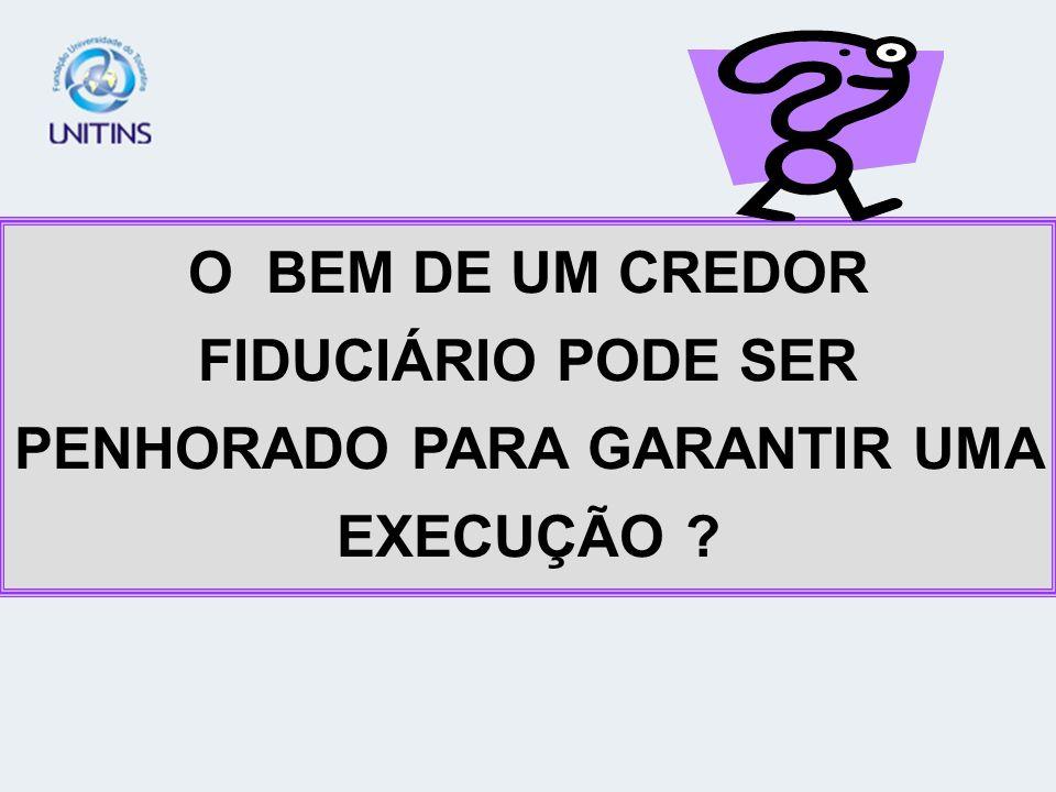 O BEM DE UM CREDOR FIDUCIÁRIO PODE SER PENHORADO PARA GARANTIR UMA EXECUÇÃO