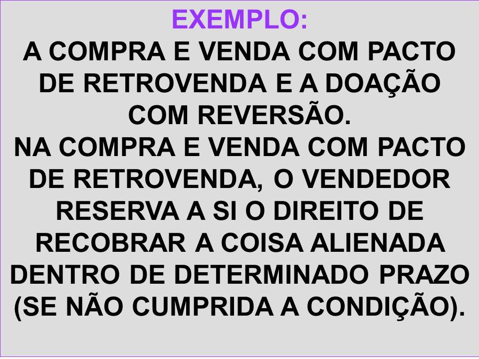 A COMPRA E VENDA COM PACTO DE RETROVENDA E A DOAÇÃO COM REVERSÃO.