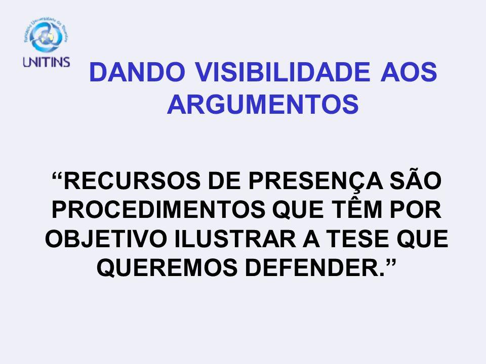 DANDO VISIBILIDADE AOS ARGUMENTOS