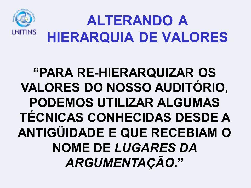 ALTERANDO A HIERARQUIA DE VALORES