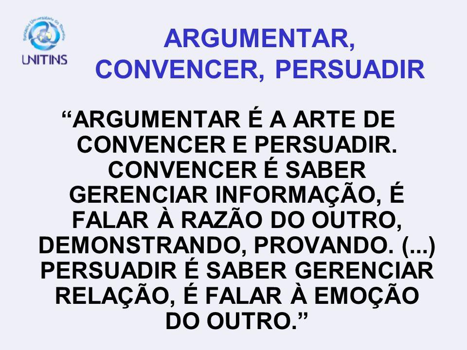 ARGUMENTAR, CONVENCER, PERSUADIR