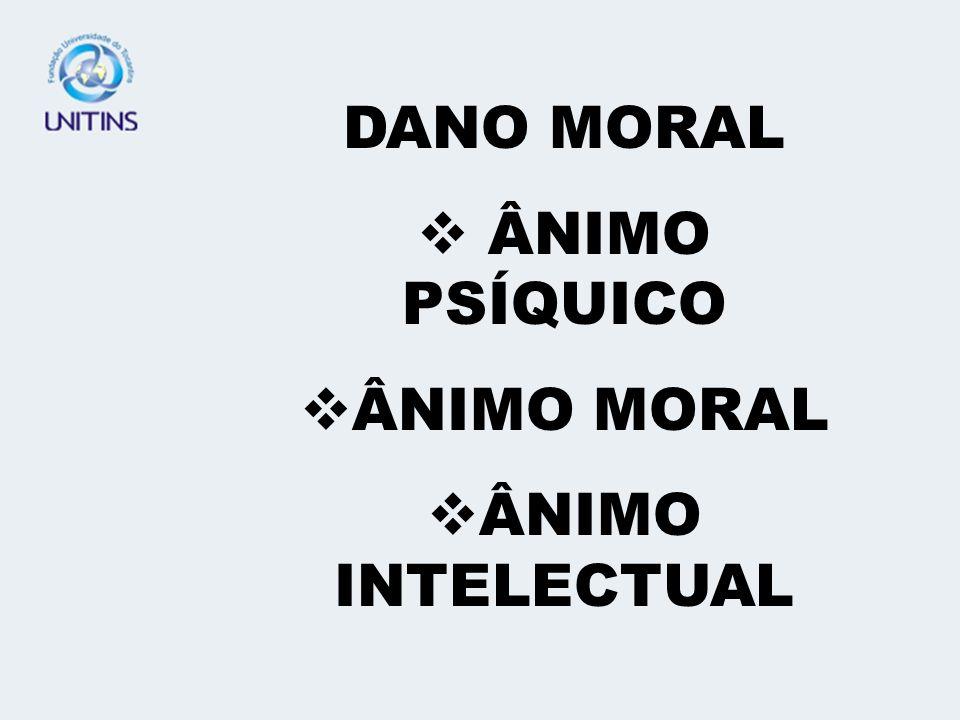 DANO MORAL ÂNIMO PSÍQUICO ÂNIMO MORAL ÂNIMO INTELECTUAL